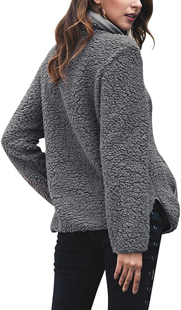 MissBloom Womens Long Sleeve 1//4 Zip Pullover Jacket Outwear Sweatshirt Winter Coat
