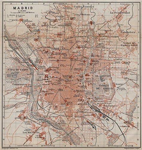 Madrid Antiguo Town City Ciudad Plan. España Mapa. Baedeker – 1913 ...