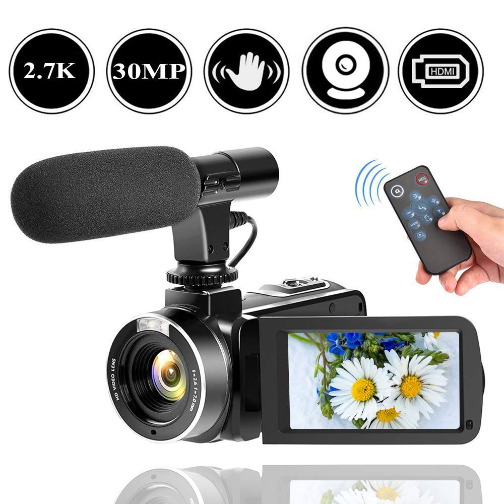 2.7K Camcorder Video Camera for YouTube 30MP Digital Camera Vlogging Camera with Microphone and Remoter by SEREE