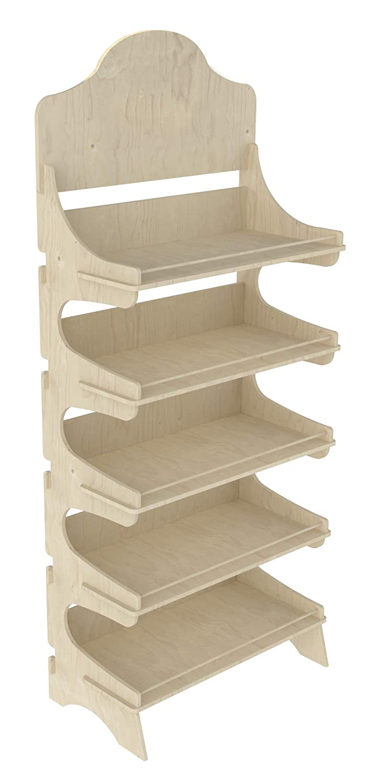 Cemab Trevi, espositore con scaffali in legno 5 piani con bacchette ferma prodotto per negozi con montaggio ad incastro