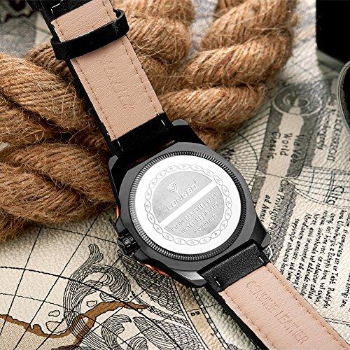 Ilove EU de hombre reloj de pulsera grande Reloj deportes reloj analógico de cuarzo 3ATM impermeable Fecha moderna Atemporal Diseño Piel whlb005