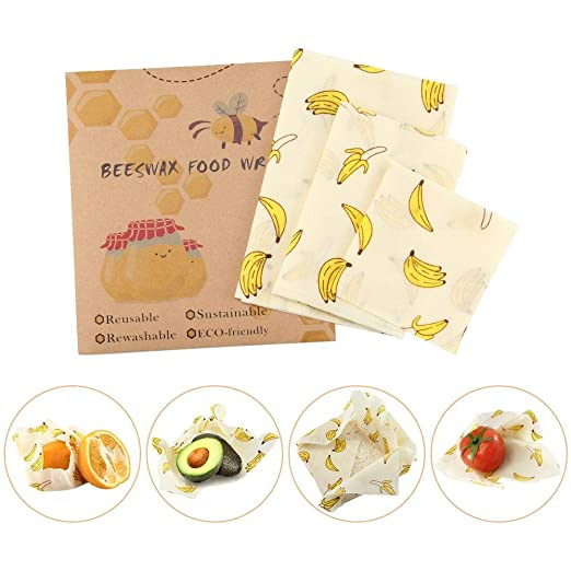Volwco Bees Wrap Reutilizable, Conjunto De 3 Envoltorios De Cera De Abejas Ecológicas, Envoltorios de alimentos reutilizables para Quesos, Frutas, ...