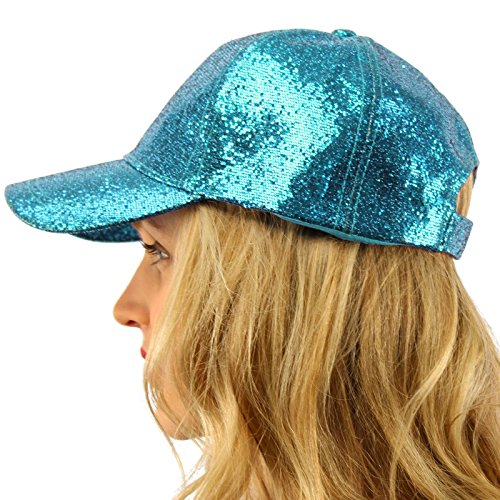 Everyday Glitter Dance Party Bling Liquid Baseball Sun Visor Ball Cap Hat Turquoise