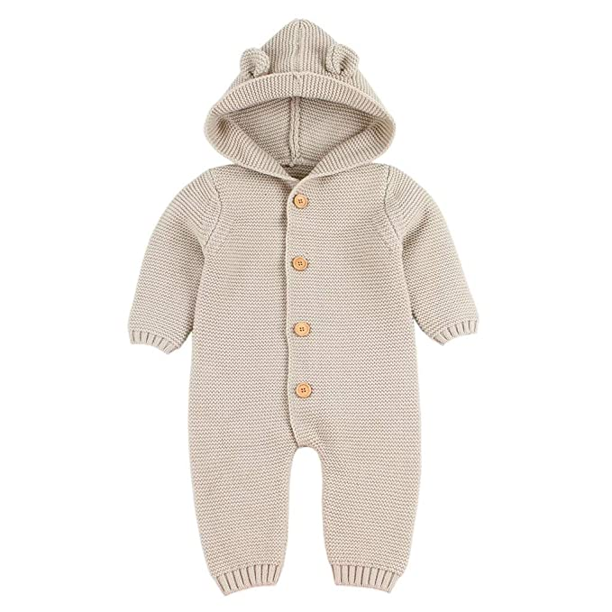 Amazon.com: Kehen Infant Girls Rompers Knitted Hoodie Newborn Boys ...