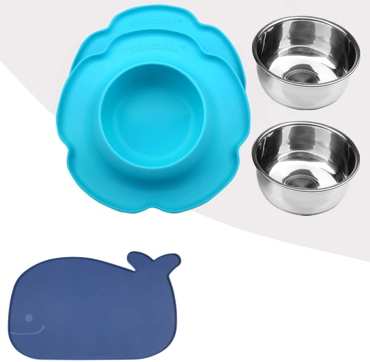 Vivaglory Pet Feeding Mat and Bowl Set with Mat for Cats Puppy or Small Sized Dog