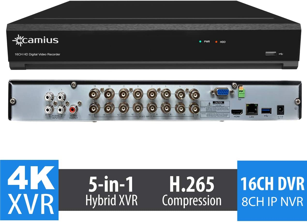 Camius UHD 4K 24 Channel Security DVR NVR Without HDD, 16CH Analog 8CH ONVIF IP up to 8MP Video, 4K HDMI, 2 SATA, H.265, PC Mac Software, Phone app – TRIVAULT4K2168 Cameras Not Included