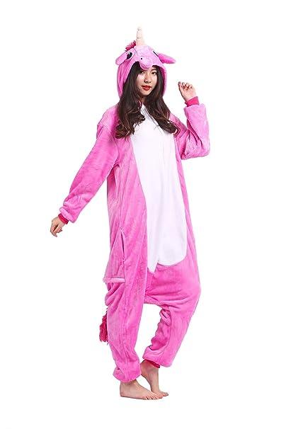 Hstyle Adultos Trajes Unisex Mamelucos Pijama De Halloween Cosplay Disfraces De Navidad Rosa Unicornio Grandes