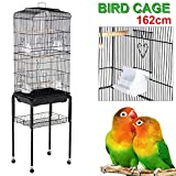 """Yaheetech 63"""" Rolling Bird Cage Parrot Finch Aviary Pet Perch w/Stand Black"""