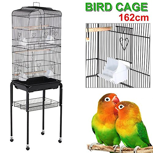 "Yaheetech 63"" Rolling Bird Cage Parrot Finch Aviary Pet Perch W/stand Black"