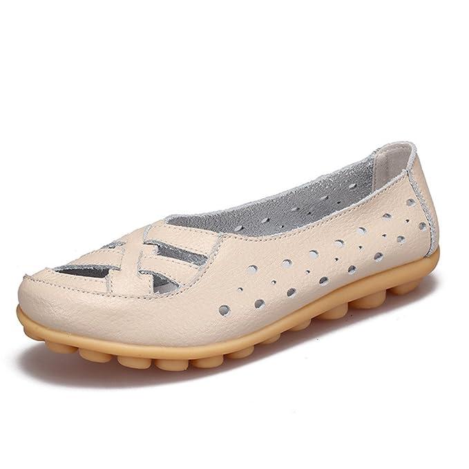 Zapatos de mujer Zapatos de mujer Mocasines Zapatos de mujer Zapatos de ballet antideslizantes Zapatos de cuero de vaca genuinos Calzado Beige 4: Amazon.es: ...