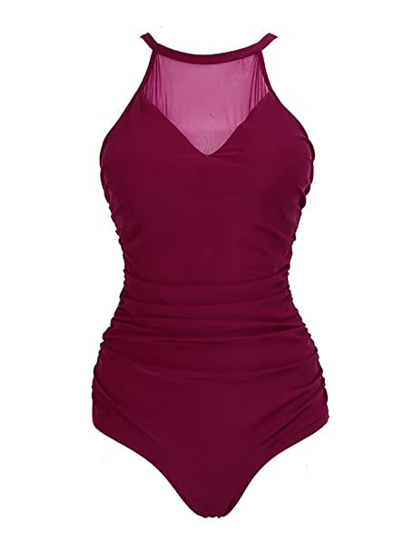 dcf960cc068f8 Amazon.com  Zando Women s Plus Size Swimwear Tummy Control Mesh Ruched One  Piece Swimsuit Bathing Suit for Women  Clothing