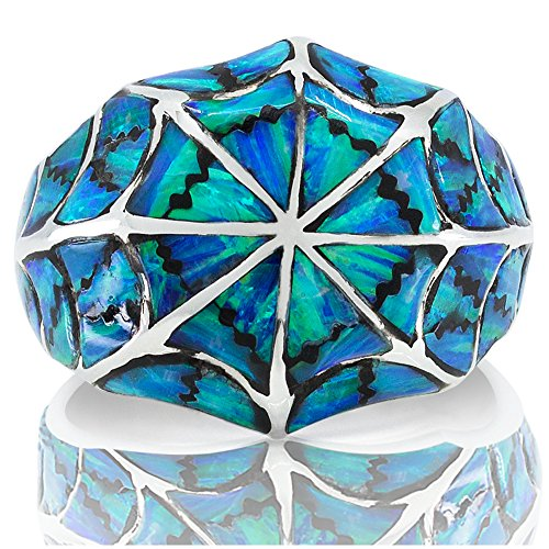 925 Sterling Silver Blue Opal Ring - Made in Thailand - Size -