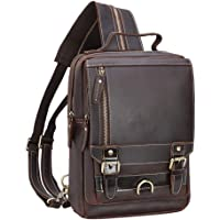 TIDING Men's Leather Convertible Handmade Backpack Sling Bag for Travel Rucksack with Card Holder Small Satchel Casual…