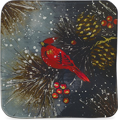 Snowman Decorative Plates - AngelStar Christmas Cardinal & Pinecone Plate-8