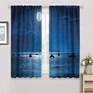 Homrkey Decor Living Room Curtains 2 Panel Sets Ocean Decor Dramatic Photo of A Nighttime Sky Full Moon Over A Calm Ocean Scene in Maui Hawaii for Window Curtains Valances W52 x L63 Inch Navy White