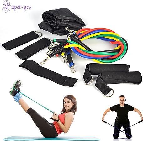11 PCS Resistance Bands Set Yoga Pilates Abs Exercise home Workout cross Fit GYM