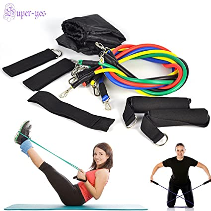 Amazon.com : Resistance Band Set Yoga Pilates Abs Workout ...