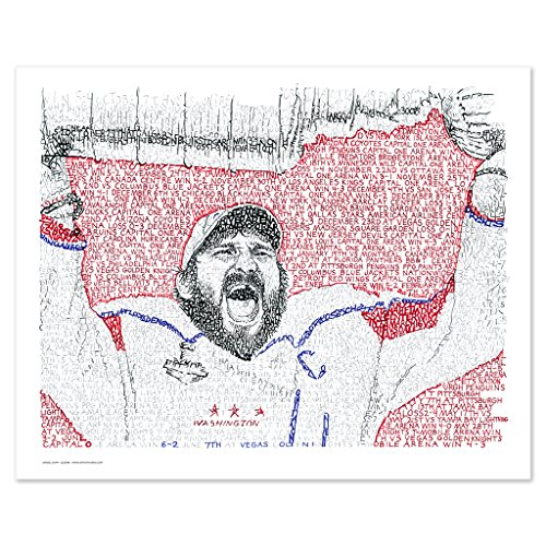 - 2018 Washington Capitals Champs Word Art Print (16x20) Handwritten with The Date, Score, Opponent of Every Caps Game in 2018 - Capitals Art - Ovechkin Poster