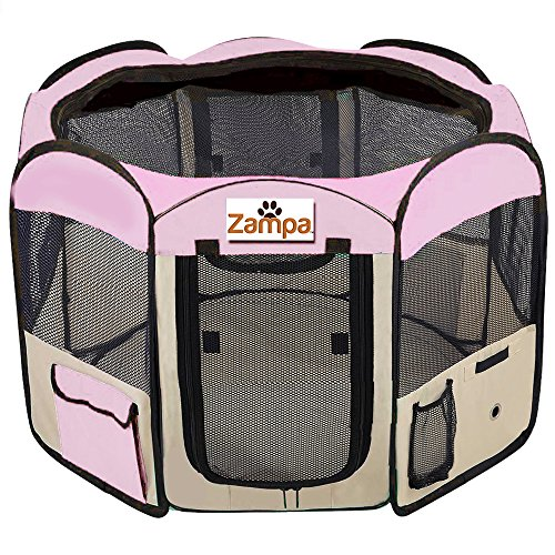 Pet 45″ Playpen Foldable Portable Dog/Cat/Puppy Exercise Kennel For Small medium Large. The Best Indoor And Outdoor Pen. With Cary Bag. Easily Sets Up & Folds Down & Space Free (Pink)