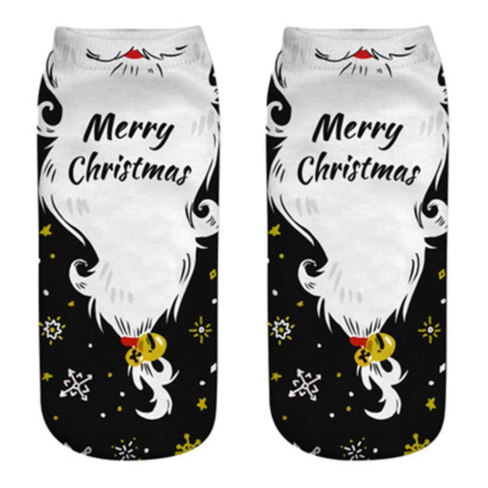 Hengshikeji Womens Christmas Cotton Sock Slippers Short Print Ankle Socks Winter Soft Knit Warm Ladies Casual Crew Socks
