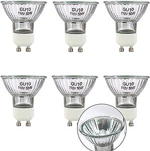 GU10 Base 110V/120V 50 Watt Halogen Bulbs, MR16 Reflector Flood Replacement Light Bulbs for Kitchen Hood,Ceiling Fan,Table Lamps