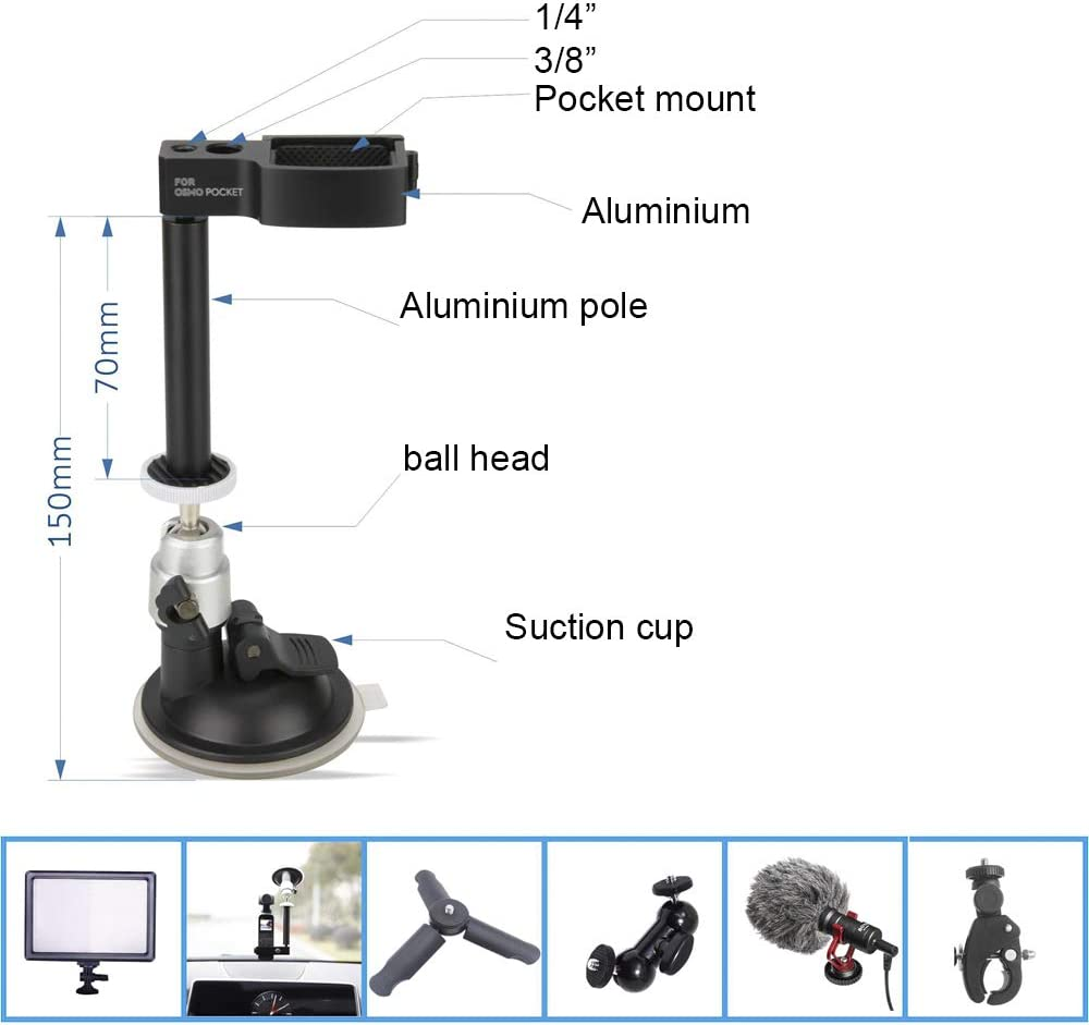 Hooshion Mount Bracket for Car Sucker for DJI Osmo Pocket,Gimbal Extension Module Holder Parts,Vehicle Window Suction Cup Mounting Adapter Converter