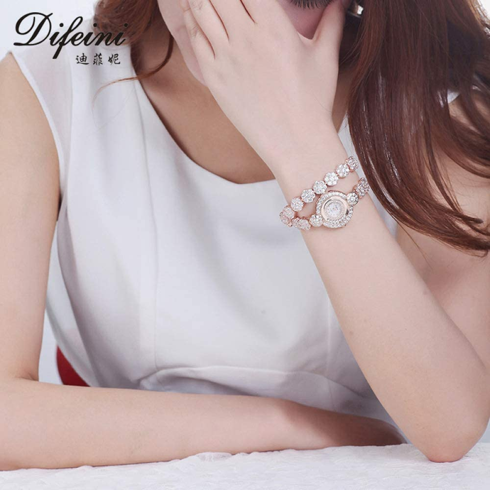 FRV Regarder la Mode de remontage Deux Anneau Bracelet Femelle étanche Femme Montre Quartz Dames Montre Cadeau platine