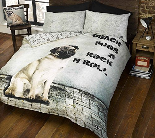 Hallways Pug Dog Rock N Roll Cute Puppy Animal Black Beige King Duvet Cover Quilt Set