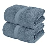 Towel Bazaar 100% Turkish Cotton Bath Sheets, 700 GSM, 35 x 70 Inch, Eco-Friendly (2 Pack, Slate Blue)