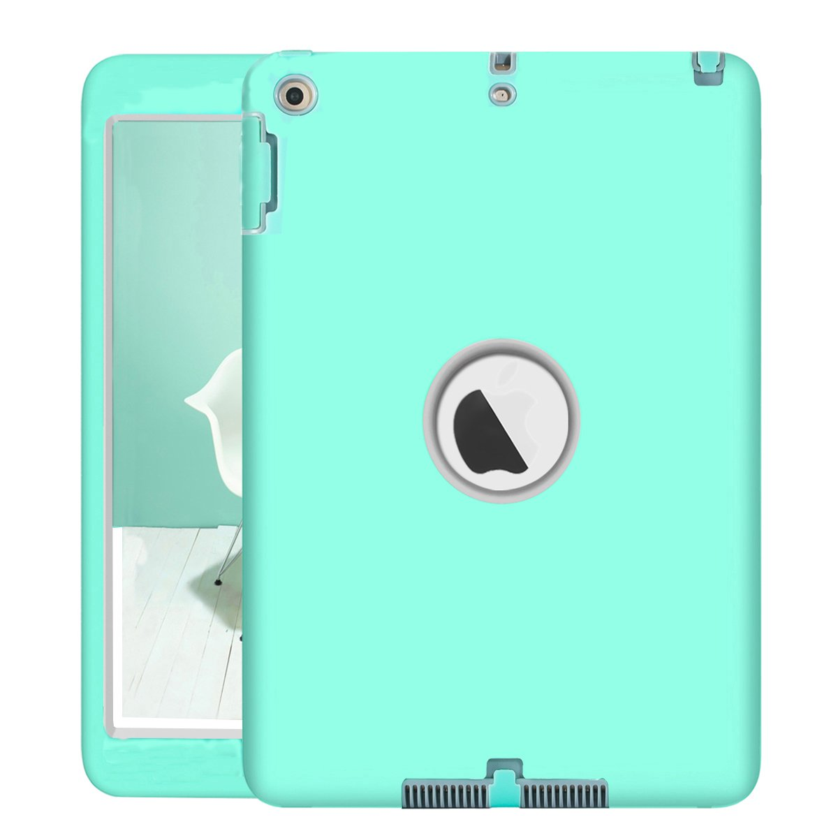 New iPad 9.7 Inch 2018/2017 Case, UZER Heavy Duty Shockproof Anti-slip Silicone High Impact Resistant Hybrid Three Layer hard PC+Silicone Armor Protective Case Cover for New iPad 9.7 inch 2017/2018