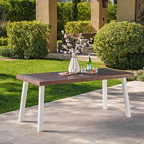 Christopher Knight Home Olivia Outdoor Dark Brown Finished Acacia Wood Dining Table with White Finished Rustic Metal Legs