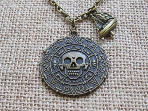 Antique Brass Lead (Pirates of Carribbean Necklace,cursed Pirates Doubloon with Pirate Ship Necklace,antique Brass Doubloon Necklace)