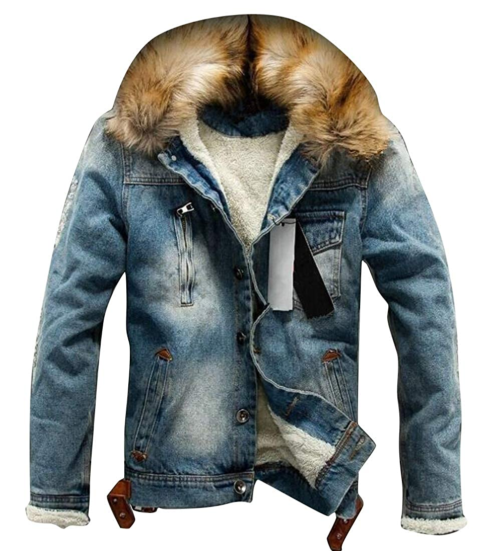Fensajomon Men Winter Thicken Faux Fur Lined Denim Faux Fur Down Coat Jacket Overcoat