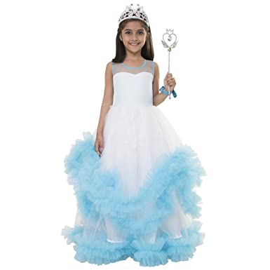 Samsara Couture Baby Girls Birthday Frozen Elsa Dress Sky Blue And White Satin Net Party Wear Gown For Kids