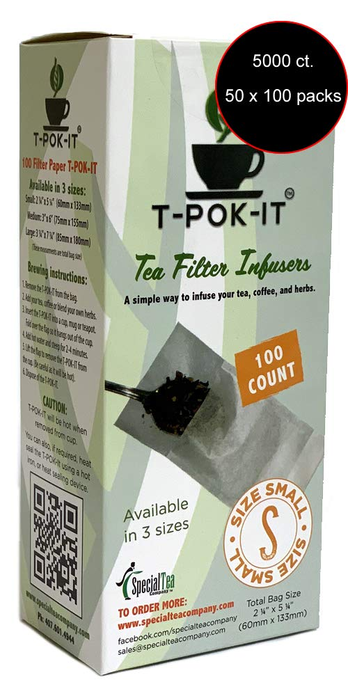 Empty Bag Tea Filter Infusers Small, 5000 Count, 2.25'' x 5'' (60 mm x 130 mm) White