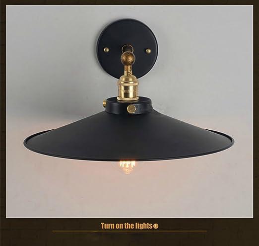 Nordic Americana Ikea simple Negro Paraguas creativo retro de la lš¢mpara de pared lš¢mpara de pared: Amazon.es: Iluminación