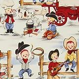Graciosa tela vintage de niños vaqueros de Michael Miller