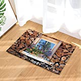 Log Cabin Bath Rugs By GoHeBe Feature House Wooden Wall And Window Flower Non-Slip Doormat Floor Entryways Indoor Front Door Mat Kids Bath Mat 15.7x23.6in Bathroom Accessories