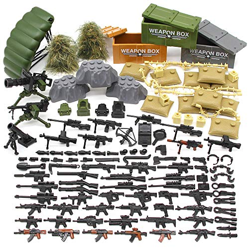 Feleph Military Army Weapons Toy,Weapon Accessories Block Building Toy Sets Custom Figure Modern Assault Equipment Pack Compatible with Major Brands,Nice DIY Battle Toy Gift for Kids Boys (World At War Best Weapons)