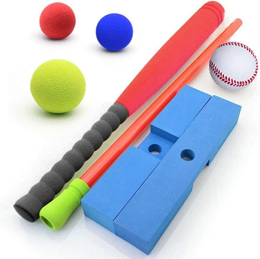 1 Racket Forevive Soft Foam Baseball Set Kids Indoor and Outdoor Baseball t-Ball Toys Easy t-Ball Training Set // 4 Balls 1 Batting t Including Portable Carry Bag 21in, Blue-Green