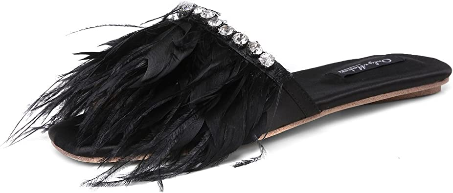 TRADITIONAL LADIES WOMENS SIZE 4 5 6 7 8 BLACK FEATHER SLIP ON MULE SLIPPER