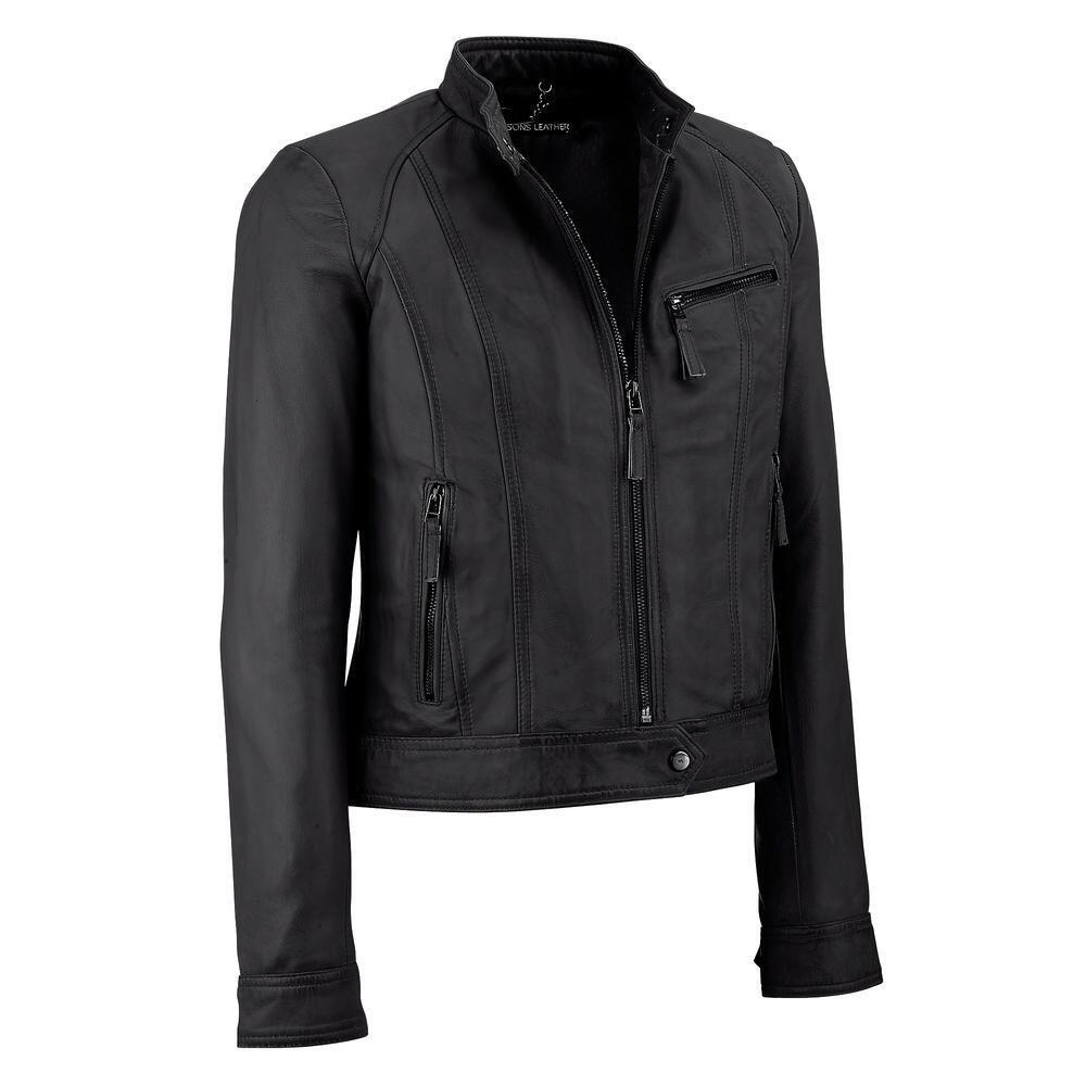 Wilsons Leather Womens 3-Pocket Lamb Scuba W/ Stand XL Black