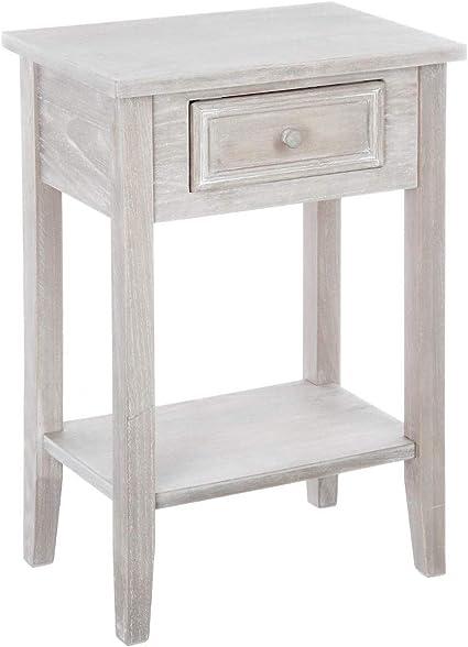 Meuble De Chevet Table De Nuit 1 Tiroir Esprit Charme D Antan Coloris Bois Patine Blanc Amazon Fr Cuisine Maison