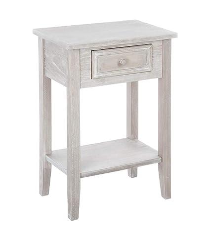 Meuble De Chevet Table De Nuit 1 Tiroir Esprit Charme D Antan Coloris Bois Patine Blanc