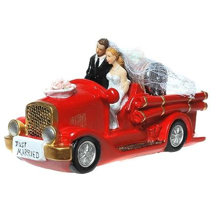 Hucha con forma de coche de bomberos~~de pareja de novios de la novia