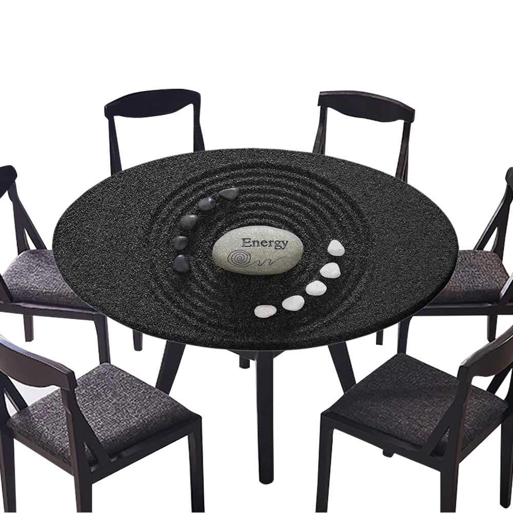 """Modern Simple Round Tablecloth Zen Garden in Black Sand for Kitchen 47.5""""-50"""" Round (Elastic Edge)"""