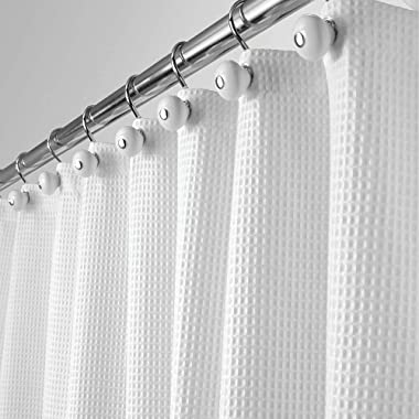 mDesign Hotel Quality Polyester/Cotton Blend Fabric Shower Curtain with Waffle Weave and Rust-Resistant Metal Grommets for Bathroom Showers and Bathtubs - 72  x 72  - White