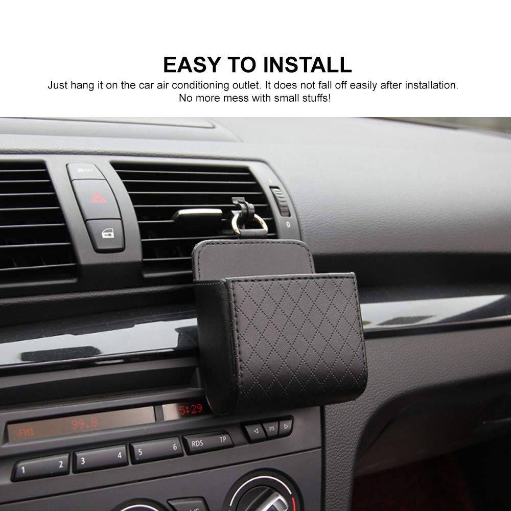 Coin Black RED SHIELD Car Auto Air Vent Leather Tidy Storage Hanging Bag Case Organizer for Keys Universal Vehicle Small Bucket with Hook Keep Your Car Clean /& Organized. Cell Phone /& Glasses