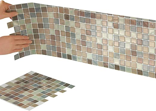 Collections Etc Multi-Colored Adhesive Mosaic Backsplash Tiles for on amazon kitchen lights, amazon kitchen pantry, amazon kitchen area rugs, amazon kitchen accessories, amazon kitchen cabinets, amazon kitchen sink, amazon kitchen furniture, amazon kitchen hardware, amazon kitchen counter, amazon kitchen floor tiles, amazon kitchen appliances, amazon kitchen faucet, amazon kitchen island, amazon window treatments, amazon kitchen chairs,
