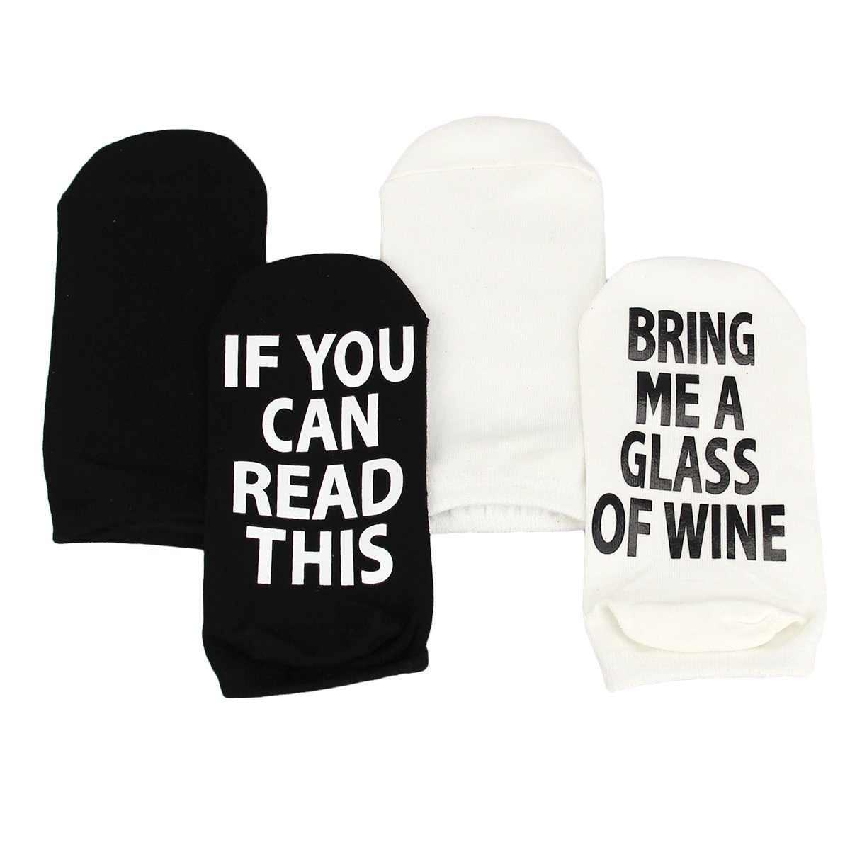 Ndier Party Funny Favor Unisex Cotton Socks with If You Can Read This Bring Me A Glass of Wine - Great Christmas Gifts for Lover Friends, Black and White - 2 pack